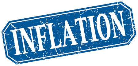 inflation: inflation blue square vintage grunge isolated sign