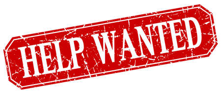 help wanted sign: help wanted red square vintage grunge isolated sign