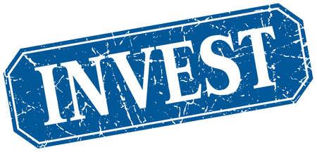 invest: invest blue square vintage grunge isolated sign Illustration