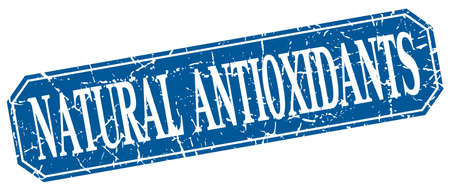antioxidants: natural antioxidants blue square vintage grunge isolated sign