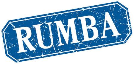 rumba: rumba blue square vintage grunge isolated sign Illustration