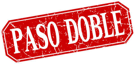 paso doble: paso doble red square vintage grunge isolated sign Illustration