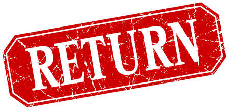 return: return red square vintage grunge isolated sign Illustration