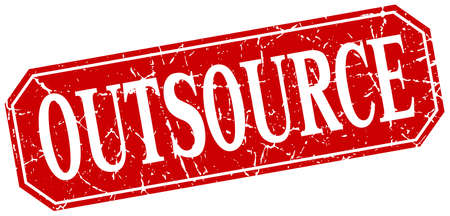 outsource: outsource red square vintage grunge isolated sign