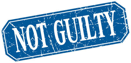 guilty: not guilty blue square vintage grunge isolated sign