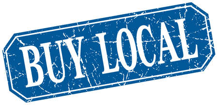 buy local: buy local blue square vintage grunge isolated sign Illustration