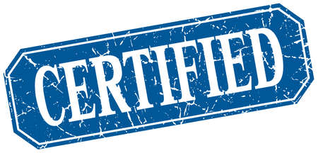 certify: certified blue square vintage grunge isolated sign Illustration