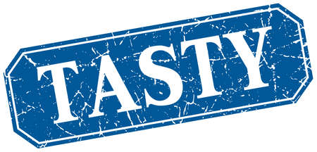 tasty: tasty blue square vintage grunge isolated sign