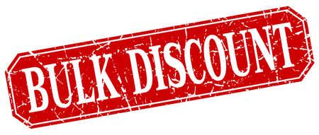 bulk: bulk discount red square vintage grunge isolated sign Illustration