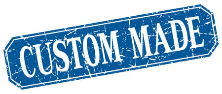 custom made: custom made blue square vintage grunge isolated sign