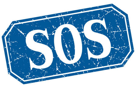 sos: sos blue square vintage grunge isolated sign