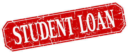 student loan: student loan red square vintage grunge isolated sign