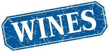 wines: wines blue square vintage grunge isolated sign Illustration