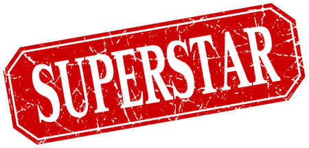 superstar: superstar red square vintage grunge isolated sign