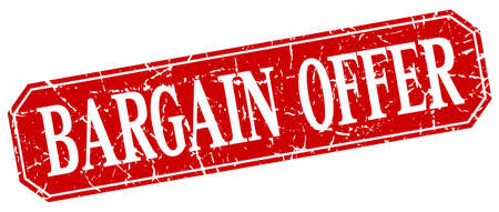 bargain: bargain offer red square vintage grunge isolated sign