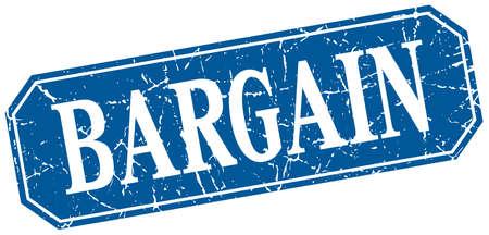 bargain: bargain blue square vintage grunge isolated sign