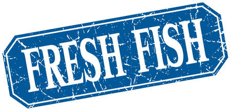 blue fish: fresh fish blue square vintage grunge isolated sign Illustration