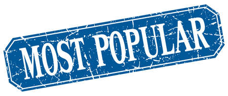 most popular: most popular blue square vintage grunge isolated sign