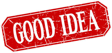 good idea: good idea red square vintage grunge isolated sign