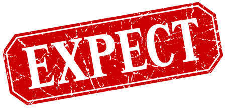 expect: expect red square vintage grunge isolated sign