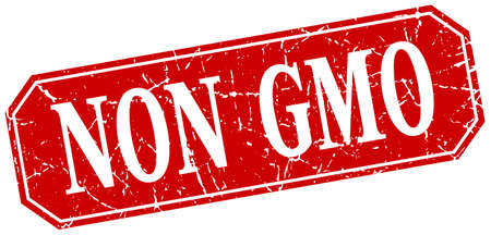 genetically modified organisms: non gmo red square vintage grunge isolated sign