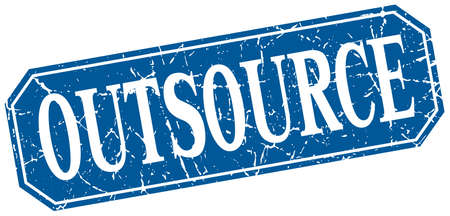outsource: outsource blue square vintage grunge isolated sign
