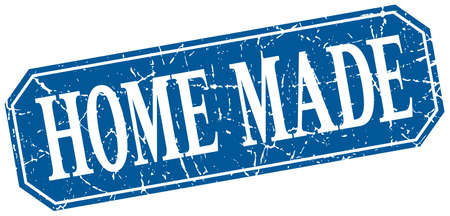 home made: home made blue square vintage grunge isolated sign Illustration
