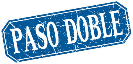 paso doble: paso doble blue square vintage grunge isolated sign Illustration