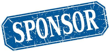 sponsor: sponsor blue square vintage grunge isolated sign Illustration