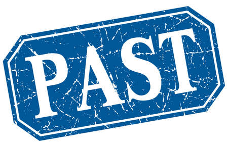the past: past blue square vintage grunge isolated sign Illustration
