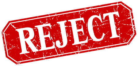 reject: reject red square vintage grunge isolated sign