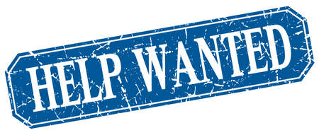 help wanted sign: help wanted blue square vintage grunge isolated sign