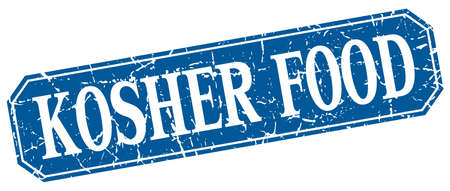 kosher: kosher food blue square vintage grunge isolated sign Illustration