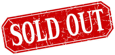 sold isolated: sold out red square vintage grunge isolated sign