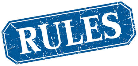 rules: rules blue square vintage grunge isolated sign