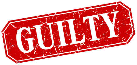 guilty: guilty red square vintage grunge isolated sign