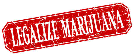 legalize: legalize marijuana red square vintage grunge isolated sign