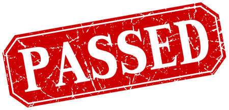 passed: passed red square vintage grunge isolated sign