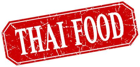 thai food: thai food red square vintage grunge isolated sign Illustration