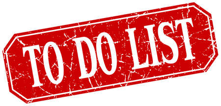 to do list: to do list red square vintage grunge isolated sign