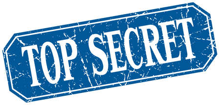 top secret: top secret blue square vintage grunge isolated sign