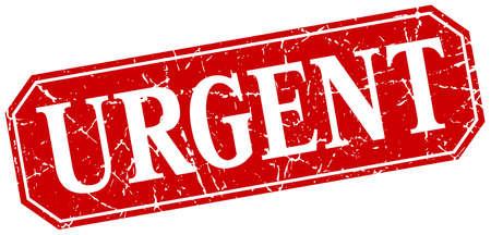 urgent: urgent red square vintage grunge isolated sign