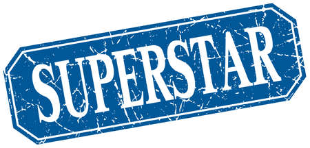 superstar: superstar blue square vintage grunge isolated sign