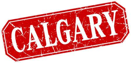 calgary: Calgary red square grunge retro style sign