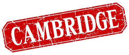 cambridge: Cambridge red square grunge retro style sign