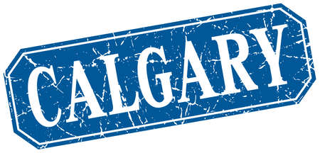 calgary: Calgary blue square grunge retro style sign