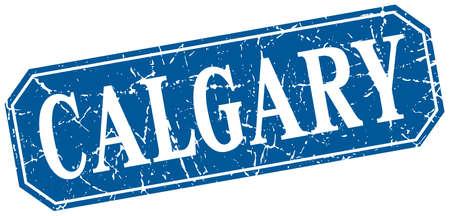 calgary: Calgary blue square grunge retro style sign