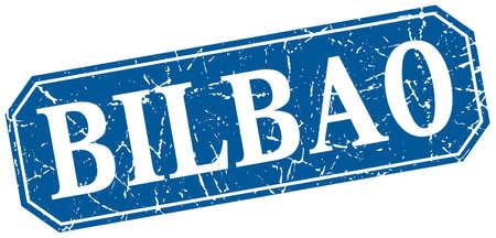 bilbao: Bilbao blue square grunge retro style sign Illustration