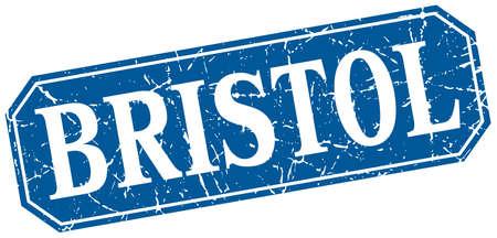 bristol: Bristol blue square grunge retro style sign