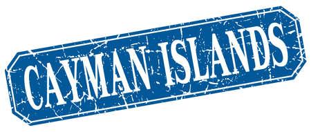 cayman islands: Cayman Islands blue square grunge retro style sign Illustration